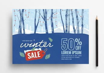 Winter Sale Flyer Layout with Snowy Forest