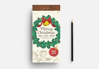 Christmas Card Layout with Illustrated Wreath