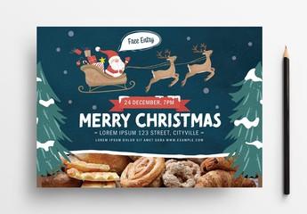 Christmas Flyer with Santa Sleigh