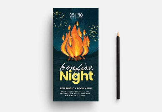 Bonfire Night Flyer Layout with Starry Sky