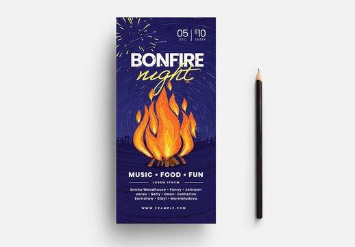 Bonfire Night Rack Card with Campfire Illustration