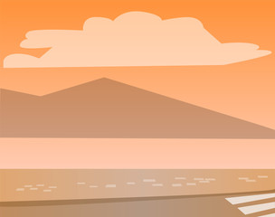Water and mountains on sunset vector. Sundown or sunrise outdoors. Natural landscape by sea and street by seashore. Clouds on sky summertime seascape flat style illustration in orange colors
