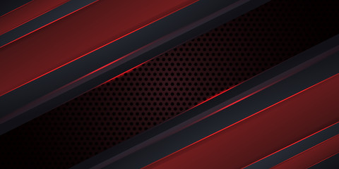 Carbon fiber dark red background with red luminous lines and highlights. Futuristic luxury modern technology background. Vector illustration EPS10.