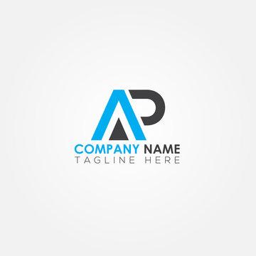 Initial letter AP simple logo Vector template. Simple AP Letter logo design. AP font type logo.