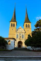 Church of St Leodegard in Lucerne Switzerland at sunset