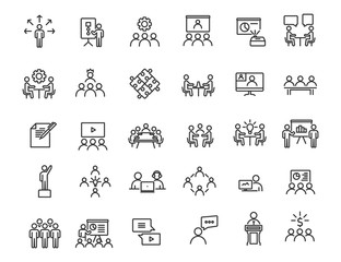 Set of linear business training icons. Workshop icons in simple design. Vector illustration