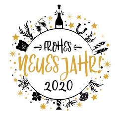 frohes neues Jahr 2020 Kalligraphie mit Symbolen - runde Form. Grußkarte mit Feuerwerk, Sekt, Sternen und Glücksbringern - german language