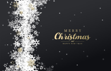 Have a holly jolly Christmas vector illustration with many snowflakes on dark background.