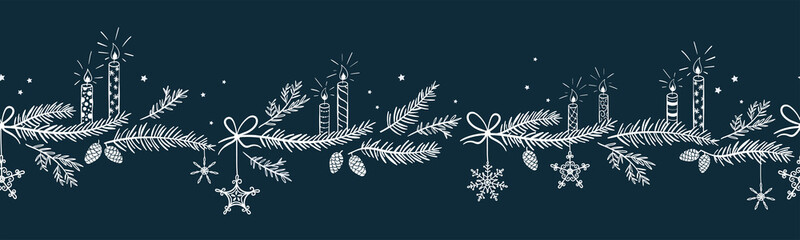 Cute hand drawn horizontal seamless pattern with candles, branches and christmas decoration - x mas background, great for textiles, banners, wallpapers - vector design