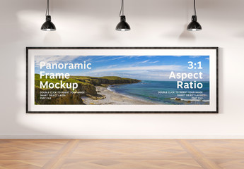 Panoramic Frame on Wall Mockup