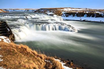 Printed kitchen splashbacks Khaki Ægissíðufoss waterfalls located near Hella at route 1, Iceland during Winter season.