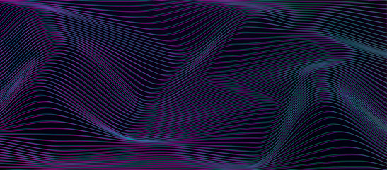 Cyberpunk vector background with horizontal distorted lines. Trendy design template with glitch distortion effect. Optical illusion wave