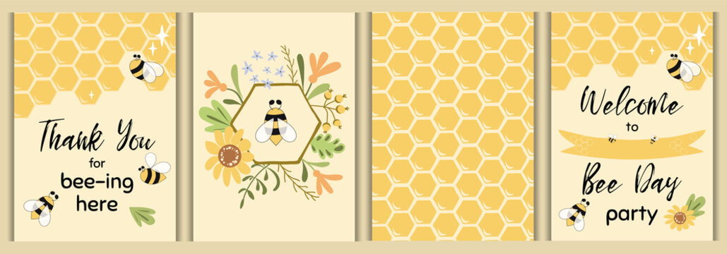 Bee party template set Bee baby shower invitations Cute kids party event Sweet honey bee flowers vector elements