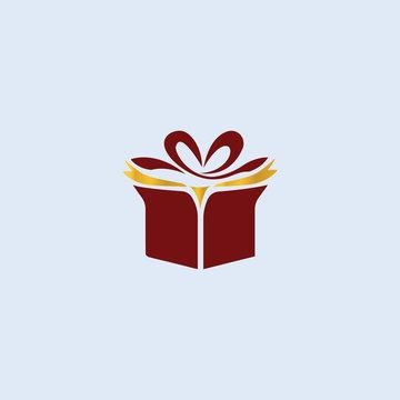 Gift Shop Logo Design Vector Tremplate. Christmas Gift Logo.