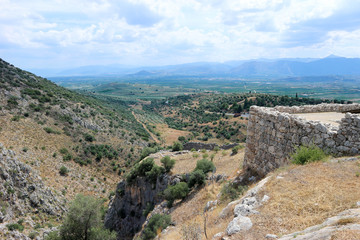 Deurstickers Rudnes Amazing view to the valley from the ruins of citadel of ancient greek city Mycenae