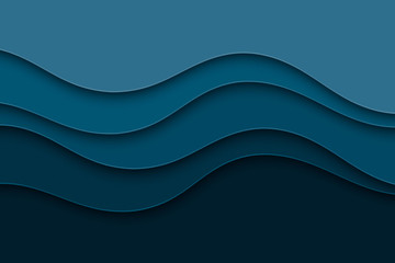 Abstract background with curve lines and waves. Paper cut water wallpaper.