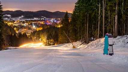 Ski slope in Poiana Brasov winter resort, Romania. Dark scenery. Night long exposure. Ski slope in Poiana Brasov winter resort, Romania. Dark scenery. Night