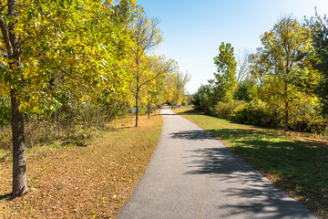 Empty paved path for pedestrains and cyclists lined with yellow trees on a clear autumn day. Keene, NH, USA.