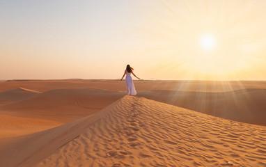 Door stickers Dubai UAE. Woman in desert