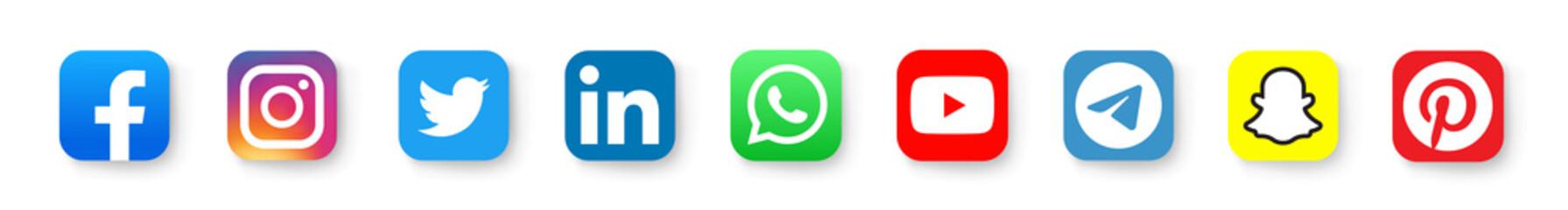 Realistic social media logotype collection: Facebook, instagram, twitter, youtube, linkedin, snapchat, telegram, pinterest, whatsap, periscope, vimeo. Social media icons. - stock vector editorial.