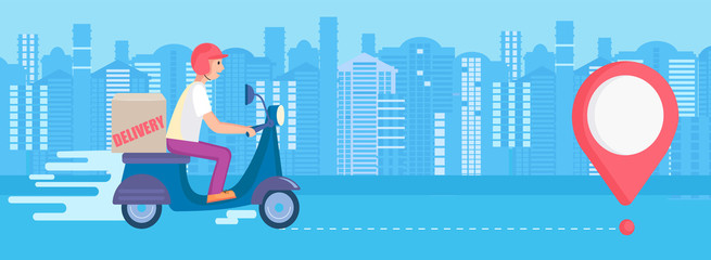 Fast and free delivery service. Carry in short time on scooters.Food and other shipping apps for mobile and websites.Quick and express bike deliver. Advertise for restaurants, caffees,pizzerias.Vector