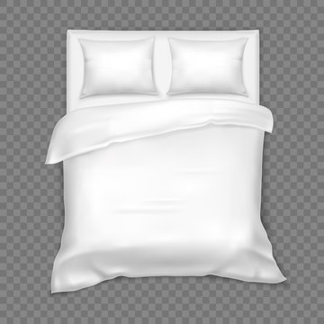 Top view on double bed with matress, white linen