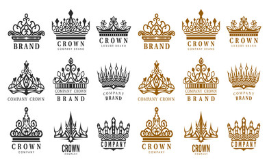 Set of isolated vintage crowns for company brand Fotomurales