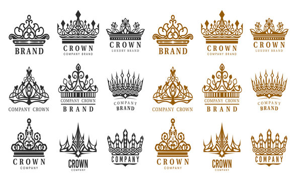 Set of isolated vintage crowns for company brand