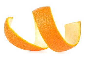 Peel of ripe orange isolated on white background. Orange zest spiral.