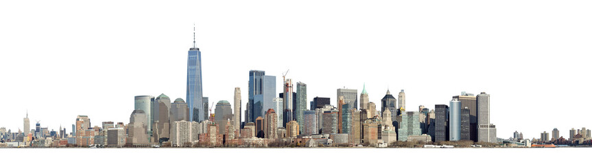 Foto op Canvas Panoramafoto s High resolution panoramic view of Lower Manhattan from the Ellis Island - isolated on white. Clipping path included.