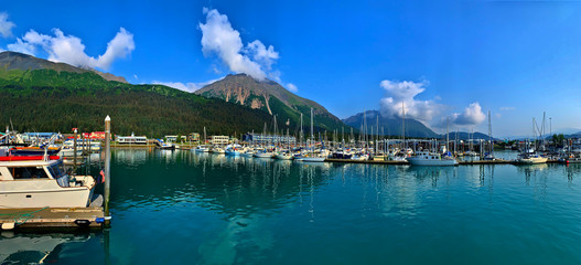 Poster Green blue Seward Alaska Harbor by Skip Weeks