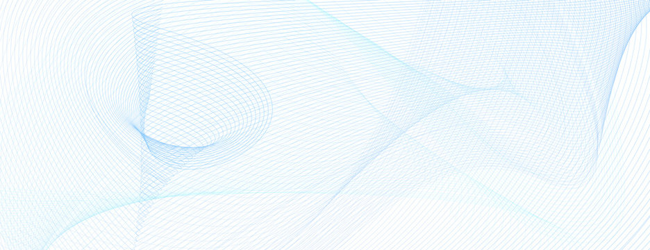 Technology background with light blue wavy lines. Line art grid pattern. Abstract vector guilloche design. Colored watermark. Dynamic subtle curves. Template for banner, voucher, flyer, cheque. EPS10