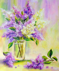 Lilac bouquet in a vase. Oil painting