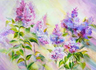 Thickets of lilac bush at sunrise. Oil painting