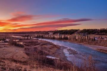 Zelfklevend Fotobehang Diepbruine Sunrise Over The River