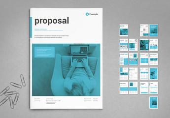 White and Cyan Blue Proposal Layout