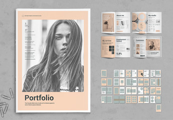 Peach and Gray Portfolio Layout