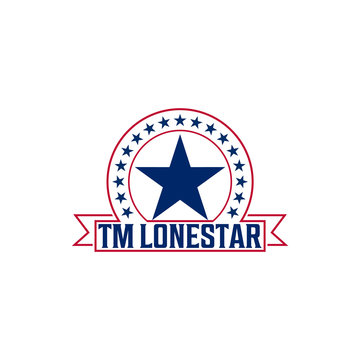 Tm Lone star logo in red and blue, style emblems, badges, flat designs,   templates. -Vector