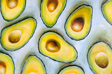 Oil painting on canvas. Half Avocado pattern