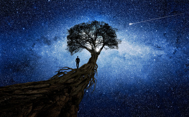 Man under a tree in front of the universe Fotomurales