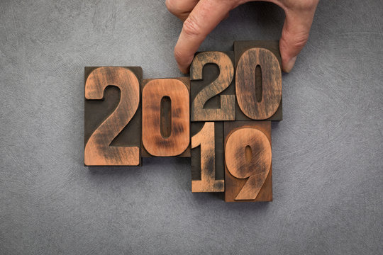 New year 2020 concept with vintage letterpress printing blocks