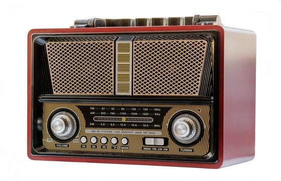 radio antigua, tradicional de color rojo oscuro, negro, dorado ,amarillo y plateado