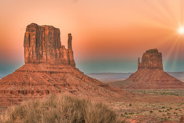 Monument Valley region of the Colorado Plateau with vast sandstone buttes on the Arizona–Utah border, in a Navajo Nation Reservation. USA