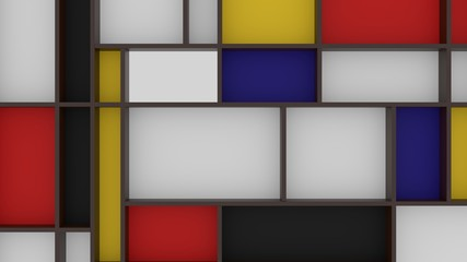 Colorful Background with intersections Piet Mondrian painting inspired background geometric 3d illustration