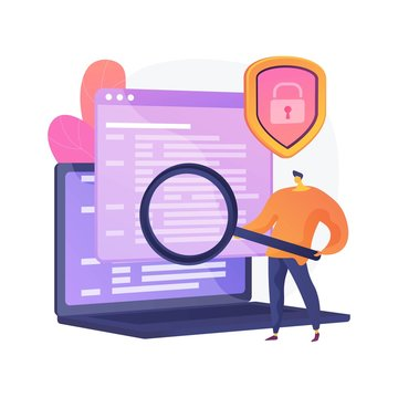 Computer forensic science. Digital evidence analysis, cybercrime investigation, data recovering. Cybersecurity expert identifying fraudulent activity. Vector isolated concept metaphor illustration