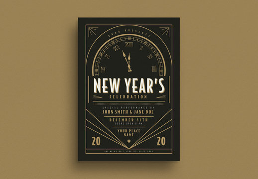 Art Deco New Year Event Flyer Layout