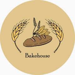 Vector drawing of bakery products drawn by hand. Cartoon image of fresh pastries and wheat ears. Emblem in the form of illustrations for signs bakery with a place for the name. Baker's family crest.8