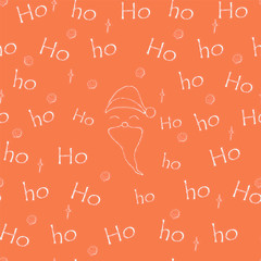 Red vector seamless pattern Christmas background for gift wrapping. Repetition of the words Ho-Ho-Ho with the image of a cheerful Santa on the new year background