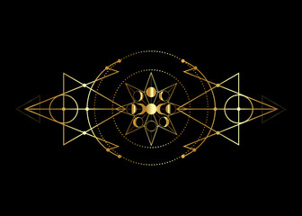 phases of the moon and triple moon. Golden Mystical drawing, energy circles, magic triangles. Gold Sacred geometry. Alchemy triangles, wicca, esoteric, occultism.  Vector isolated on black background