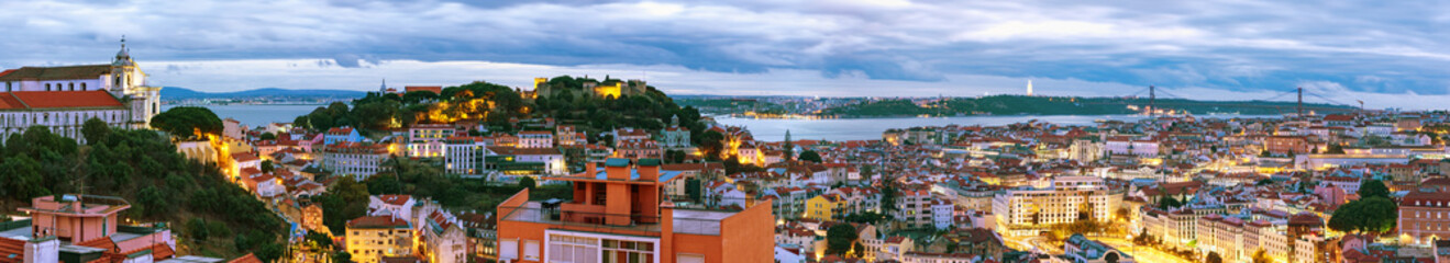 Panorama of Lisbon in evening Wall mural
